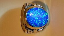 HUGE Fire Opal mens ring sz 9 Black Blue Silver 925 Thunderbird Sterling 925