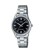 Casio Women's Silvertone Bracelet Watch, Black Dial,  LTP-V005D-1A