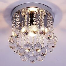Crystal Droplets Silver Chrome Ceiling Pendant Light Chandelier Fitting Lamp SH