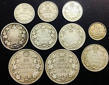 Canada Silver  Coin Lot  10 Different  1900 Victoria to 1929 George V  Mixed Lot