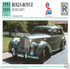ROLLS-ROYCE SILVER DAWN 1953 1955 CAR VOITURE Great Britain CARTE CARD FICHE