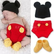 3pcs Baby Boy Girl Mickey Mouse Hat+ Botton+ Boots Crochet Knit Infant Outfit