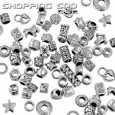 100PCS MIX Silver Tone Tibetan Charm Beads Rondelle Spacer Murano Daisy Quality!
