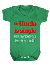 "Baby Bodysuit Funny "" My Uncle is Single"" Baby Grow Fun - BNWT"
