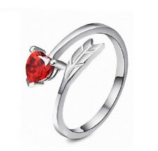 925 Silver Adjustable Red Heart Arrow Ring - Ideal Valentine's Ladies Gift