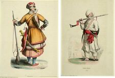 Two 19th century Hand Colored Engraving Prints of  Soldiers in costumes