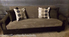 BROWN & MOCHA SOFA BED JUMBO CORD 204CM 4 SEATER STORAGE ASSEMBLED CLICK CLACK