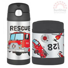 THERMOS Funtainer S/S Vacuum Insulated 355ml Bottle & 290ml Food Jar Fire Truck!