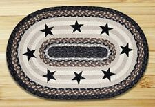 "BLACK STARS 100% Natural Braided Jute Rug, 20"" x 30"" Oval, Earth Rugs"
