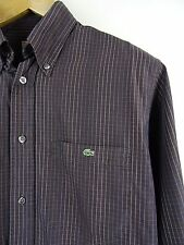 MENS 100% GENUINE LACOSTE DEVANLAY L/S BROWN CHECK SHIRT 39 SMALL RRP £85