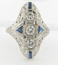 Art Deco 18k White Gold Diamonds and Sapphires Ladies Ring