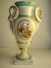 SEVRES FRENCH VICTORIAN STYLE VASE WITH SWAN DOUBLE HANDLE,FINE GOLD TRIM