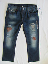 True Religion Straight Jeans Flaps -Super T Mending-No Escape- Size 38 NWT- $315