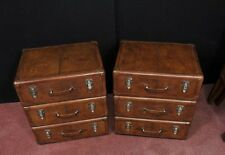 Pair English Leather Campaign Bedside Chests Nightstands Furniture