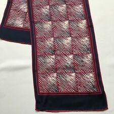 Vintage Maroon Navy and White Abstract Blocks Long 10 x 41 Silk Scarf