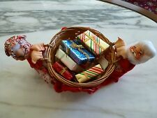 """Vintage - ANNALEE - Mr. & Mrs. CLAUSE WITH BASKET AND GIFTS - 11 1/2"""" W, 4 1/2""""T"""