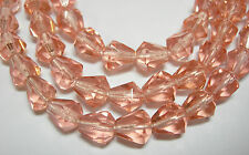 25 Peach Czech Glass Faceted Bell Teardrop Beads 9x7mm
