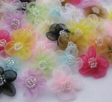 40pcs Organza Ribbon Flowers Bows Rose  W/beads Wedding Craft Deco JAF055