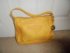 """Lucky Brand Purse Soft Mustard Leather Lg. 11""""X16"""" With Purse Key Fob Excellent"""