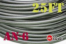 -6an AN6 Braided Stainless Steel Fuel Hose Oil Line Track Car Racing 25ft