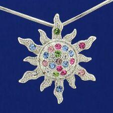 Sun W Swarovski Crystal Sunburst Sunshine Sunrise Necklace Multi Color Pendant