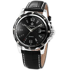 Business Men Quartz Watch Silver Black Stainless Steel Date Display Leather Band