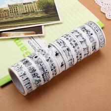 10Pcs Rouleaux Ruban Adhésif Décoratif Masking Scrapbooking Tape Galon Décor