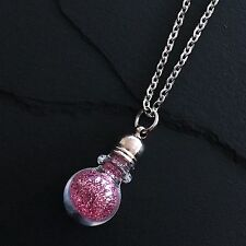 Mini Glass Bottle Glitter Potion Vial Birthstone Necklace Stainless Steel Chain