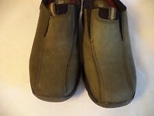 "Womens BASS Army Green Suede 1.75"" Med Heel Clog Shoe 8 M -"