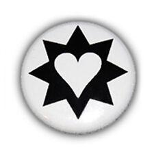 Button Badge COEUR ETOILE Noir BLANC heart star tattoo black Pins 1inch Ø25mm