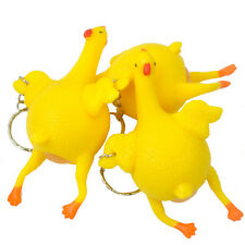 Novelty Key Chain Ring Rubber Chicken Laying Egg Prank Toy Squeeze Anxious Funny