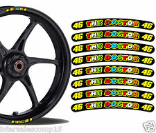 8 AUTOCOLLANTS MOTO STICKER JANTE ROUE LISERET RIM STRIP 46 ROSSI THE DOCTOR R59