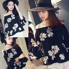 Korean Style Fashion Women Girl 3/4 Sleeve Chiffon Floral Tops Flare Blouse GCP1