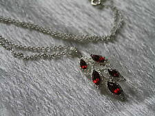 Estate SAO Signed Silvertone Chain with Marquise Red Plastic Rhinestone Leaf