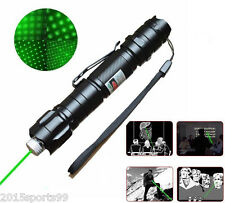 Military 5 Miles 532nm Green Laser Pointer Pen Visible Beam Light Star Cap Set #