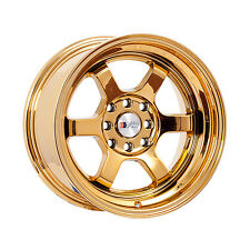 "F1R Wheels F05 Rims 15x8 4x100 4x114.3 +0 Offset 3"" Stepped Lip Gold Chrome"