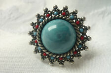 ViNTAGE ADJUSTABLE RING TURQUOISE BLUE AND RED STONES PEWTER SILVER COLOUR METAL