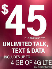 T-Mobile $45 Prepaid Plan - 1st Month Included Sim Package - Unlimited TT&Web