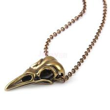 Steampunk Goth Antique Brass Bird Skull Raven Crow Pendant Chain Necklace