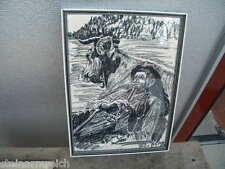 1971 Kohlezeichnung PROF. PETER GABRIEL Ried Antiesenhofen mehr im LAGER- Farmer