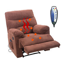 Heated Recliner Massage Chair Vibrating Turns Sofa w/Controller Suede Furni