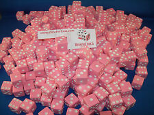 PINK DICE w/ WHITE PIPS 16mm (200 Pack) BUNCO BUNKO PARTY DICE GAMES DIE