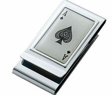 PERSONALIZED DOUBLE SIDED ACE OF SPADES POKER MONEY CLIP CUSTOM ENGRAVED FREE