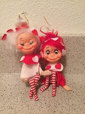 Two Cute Rare Vintage Knee Hugging Candy Striped Heart Pixie Ornament Mini Dolls