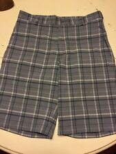 "Nike Golf Slate Grey Plaid Golf Shorts 32"" Stretch Flat Front"