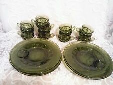 6 Vintage Indiana Glass Green King's Crown Hostess/Snack Sets Complete + 3 cups