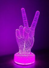 Victory Gesture Piece Sign 3D Optical Illusion LED Night Light Table Lamp