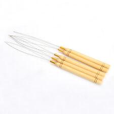 5Pcs Wooden Handle Hair Extensions Micro Loop Needle Threader Pulling Hook Tool
