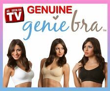 GENIE BRA Classic x 3 White Black Nude Size Large Removable Pads Lot of 3 New