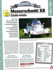 Messerschmitt KR 1953 GERMANY DEUTSCHLAND ALLEMAGNE Car Auto FICHE FRANCE